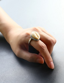 Fashion Silver Color Shell Shape Decorated Ring