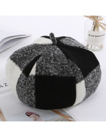 Fashion Black Grid Pattern Decorated Berets