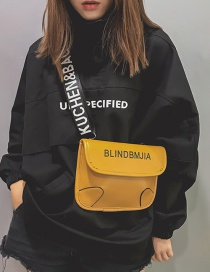 Simple Yellow Letter Pattern Decorated Shoulder Bag
