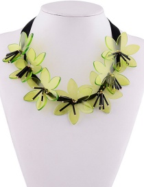 Fashion Green Flowers Decorated Pure Color Necklace