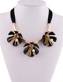 Fashion Black Beads Decorated Flowers Shape Necklace