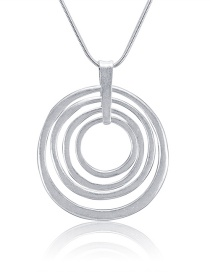 Fashion Silver Color Circular Ring Shape Decorated Necklace