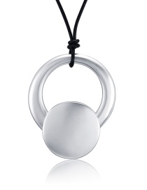 Fashion Silver Color Round Shape Decorated Pure Color Necklace