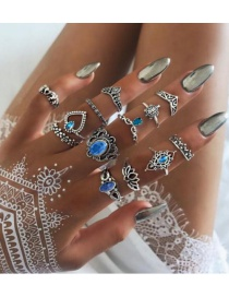 Fashion Silver Color Flower Shape Decorated Ring ( 13 Pcs )