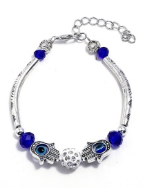 Fashion Silver Color+sapphire Blue Hand Shape Decorated Bracelet
