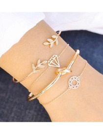 Fashion Gold Color Leaf Shape Decorated Pure Color Bracelet (4 Pcs )