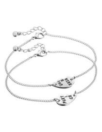 Fashion Silver Color Letter Pattern Decorated Bracelet (2 Pcs )