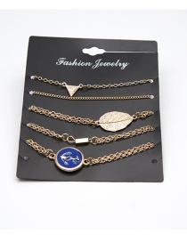 Fashion Gold Color Leaf Shape Decorated Bracelet ( 5 Pcs )