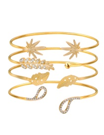 Fashion Gold Color Leaf Shape Decorated Bracelet (4 Pcs )
