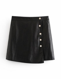 Fashion Black Button Decorated Pure Color Skirt