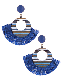 Simple Sapphire Blue Tassel Decorated Earrings