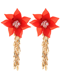 Simple Red Flower Shape Decorated Earrings