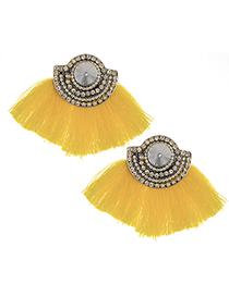 Fashion Yellow Tassel&diamond Decorated Earrings