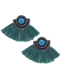 Fashion Blue Tassel&diamond Decorated Earrings