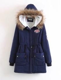 Fashion Navy Letter Pattern Decorated Pure Color Coat