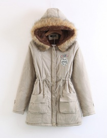 Fashion Khaki Fur Collar Decorated Pure Color Coat