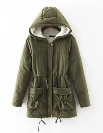 Fashion Olive Green Pure Color Decorated Coat