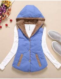 Fashion Blue Mid-length Plaid Split Coat With Brushed Edges