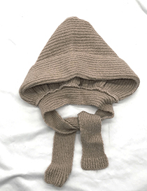Lovely Coffee Pure Color Decorated Warm Knitted Cap