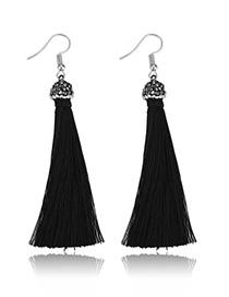 Elegant Black Tassel Decorated Pure Color Earrings