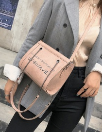 Fashion Pink Letter Pattern Design Shoulder Bag