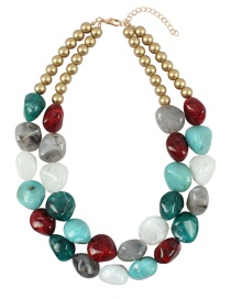 Fashion Green+white Stone Shape Design Color Matching Necklace