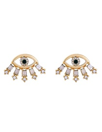 Fashion Gold Color Diamond Decorated Eyes Shape Earrings
