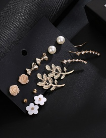 Fashion Gold Color Leaf&bowknot Decorated Earrings(14pcs)