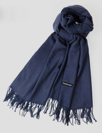 Fashion Navy Tassel Decorated Pure Color Scarf