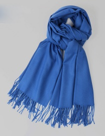 Fashion Sapphire Blue Pure Color Decorated Warm Scarf