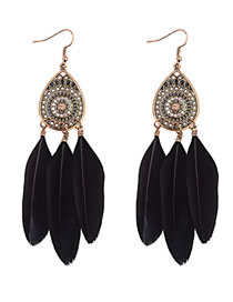 Fashion Black Feather Decorated Hollow Out Earrings