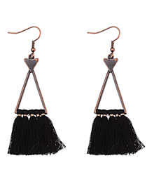 Elegant Black Triangle Shape Design Tassel Earrings