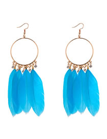 Vinatge Blue Feather Decorated Circular Ring Earrings