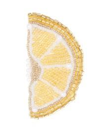 Fashion Yellow Full Pearls Design Lemon Shape Patch