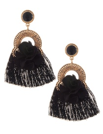 Elegant Black Flower Decorated Tassel Earrings