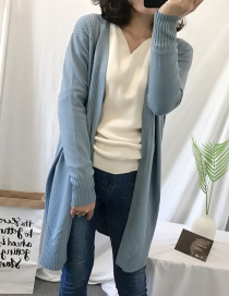 Fashion Gray+blue Long Sleeves Design Pure Color Cardigan