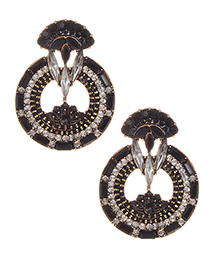 Elegant Black Full Diamond Design Hollow Out Earrings