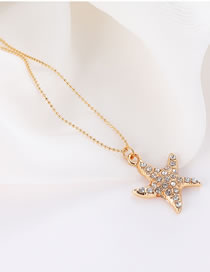 Elegant Gold Color Starfish Pendant Decorated Simple Necklace
