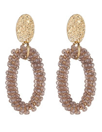 Elegant Light Pink Full Beads Design Oval Shape Earrings