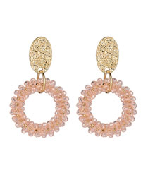 Elegant Pink Round Shape Design Pure Color Earrings