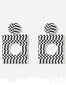 Fashion White+black Square Shape Design Hollow Out Earrings