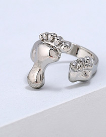 Fashion Silver Color Foot Shape Design Pure Color Ring
