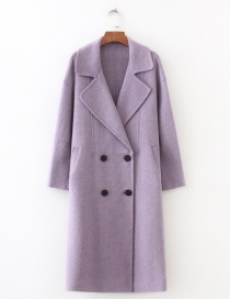 Fashion Purple Pure Color Decorated Long Overcoat