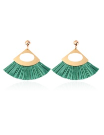 Fashion Green Sector Shape Design Hollow Out Earrings
