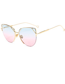 Trendy Blue+pink Thin Legs Design Round Shape Sunglasses