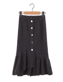 Elegant Dark Gray Buttons Decorated Pure Color Knitted Skirt