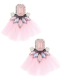 Elegant Pink Diamond Decorated Tassel Earrings