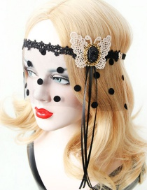 Fashion Black Butterfly Shape Decorated Mask