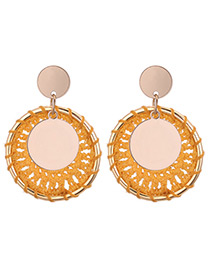 Vintage Yellow Round Shape Decorated Earrings