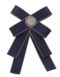 Elegant Navy Round Shape Decorated Bowknot Brooch